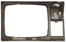 Altes schmutziges Feld unterbrochenen Fernsehapparates Stockbilder