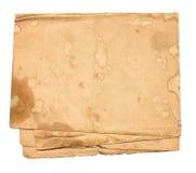 Altes schmutziges Papier getrennt Stockbild