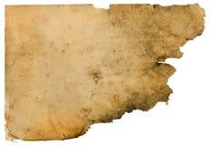Altes schmutziges Papier getrennt auf Weiß Stockfotografie