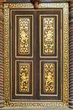 Altes schnitzendes hölzernes Fenster Stockfotografie