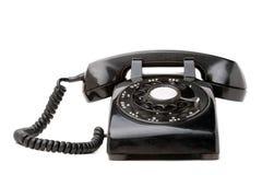 Altes schwarzes Retro- Telefon Stockfotografie