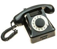 Altes, schwarzes Telefon von den Fünfziger Jahren Stockfoto
