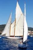 Altes Segelnboot in den Panerai Klassiker-Yachten Lizenzfreies Stockfoto