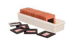 Altes slidebox mit Plättchen Lizenzfreies Stockfoto