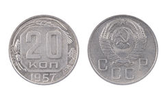 Altes sowjetisches Geld 20 Kopeks Münze 1957 Lizenzfreies Stockbild