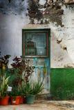 Altes Spanisch verwitterte Haustür und Garten lizenzfreies stockbild