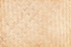 Altes spinnendes Bambusmuster, gesponnene Rattanmattenbeschaffenheit für Hintergrund stockfotografie