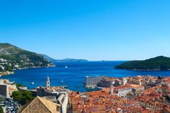 Altes Stadtpanorama Dubrovniks, Kroatien stockbilder