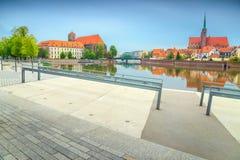 Altes Stadtpanorama von Breslau mit Kathedrale Johannes, Polen Lizenzfreies Stockbild