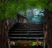 Altes Steintreppenhaus zur Feier Halloweens stock abbildung