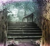 Altes Steintreppenhaus zur Feier Halloweens auf Hintergrund lizenzfreie abbildung
