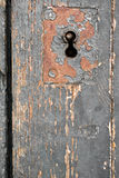 Altes Türschloss, Nahaufnahme-Hintergrund Stockbilder