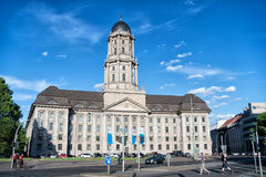 Altes tadthaus building on sunny day on blue sky. Berlin, Germany - May 31, 2017: Altes tadthaus building on sunny day on blue sky background. Old city hall Royalty Free Stock Image
