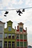 Altes Teil der berühmten mittelalterlichen Stadt Gent Stockbild