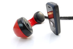 Altes Telefongefäß und -Handy Stockfoto