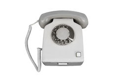 Altes Telefonisolat ist auf weißem Hintergrund Stockbild
