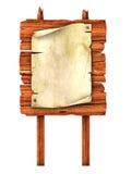 Altes unbelegtes Manuskript auf der hölzernen Anschlagtafel Lizenzfreies Stockfoto
