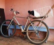 Altes und benutztes Fahrrad Stockfotos
