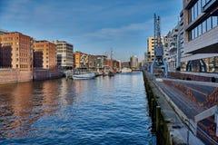Altes und neues Speicherstadt der Hanseatic Stadt von Hamburg Stockbild