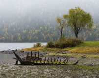 Altes verlassenes hölzernes Boot auf dem See Lizenzfreies Stockbild
