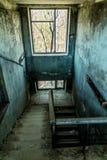 Altes verlassenes Haus in der Geisterstadt von Pripyat, Ukraine Konsequenzen einer Kernexplosion am Kernkraftplan Tschornobyls lizenzfreies stockfoto
