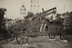Altes verrostetes antikes Traktordetail in Schwarzweiss Lizenzfreies Stockfoto