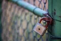 Altes Vorhängeschloß auf grünem Tor ohne Schlüssel Stockfotografie