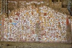 Altes Wandgemälde an archäologischer Fundstätte Huaca De-La Lunas - Trujillo, Peru Stockfotos