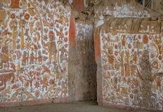 Altes Wandgemälde an archäologischer Fundstätte Huaca De-La Lunas - Trujillo, Peru Stockbilder