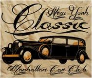 Altes Weinlese-Auto-klassische Mann-T-Shirt Grafik Stock Abbildung