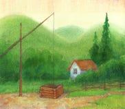Altes wohles nahes eine einsame Kabine in den Bergen stock abbildung