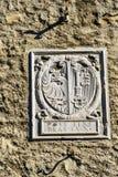 Altes Zeichen mit Stadtwappen, Genf, die Schweiz Lizenzfreie Stockfotos