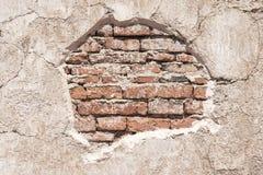 Altes Ziegelsteinmuster auf gebrochener Betonmauer des Schmutzes Abstraktes BAC Lizenzfreies Stockbild