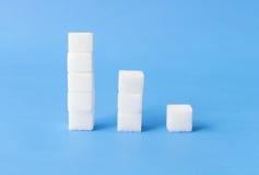 Altezza alle pile basse di cubi dello zucchero con fondo blu, salute Fotografie Stock Libere da Diritti