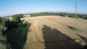 Altezza della mosca del fuco sopra l'estremità di estate sopra terreno coltivabile con i campi, vista aerea archivi video