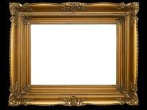 Altgold-Bilderrahmen auf schwarzem gackground Stockbilder