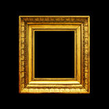 Altgoldfotorahmen lokalisiert auf Schwarzem Lizenzfreies Stockfoto