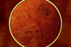 Roter Hintergrund des Schmutzes mit goldenem Rahmen Lizenzfreie Stockfotografie
