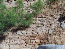 Altgriechische Stein-und Fliesen-Wand, Schongebiet von Apollo, Berg Parnassus, Griechenland Lizenzfreies Stockbild