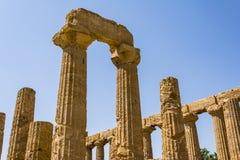 Altgriechischer Tempel von Juno God, Agrigent, Sizilien, Italien Lizenzfreies Stockfoto