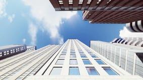 Alti edifici per uffici di aumento sul fondo del cielo blu video d archivio