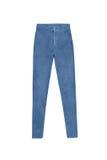Alti pantaloni scarni blu dei jeans della vita, isolati su fondo bianco Fotografia Stock Libera da Diritti
