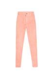 Alti pantaloni scarni di corallo arancio dei jeans della vita, isoalted sulle sedere bianche Immagini Stock Libere da Diritti