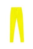 Alti pantaloni scarni gialli dei jeans della vita, isolati sul backgrou bianco Immagini Stock