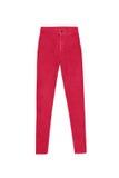 Alti pantaloni scarni rossi dei jeans della vita, isolati su fondo bianco Fotografie Stock Libere da Diritti
