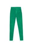 Alti pantaloni scarni verdi dei jeans della vita, isolati su backgroun bianco Immagini Stock