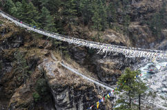 Alti ponti di corda in Himalaya Fotografia Stock Libera da Diritti