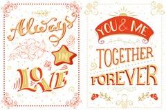 Altijd in Liefde U en me Samen voor altijd Stock Foto's