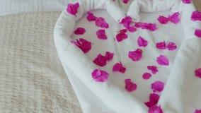Altijd welkome gasten Compliment van het hotel - een hart van handdoeken met bloembloemblaadjes dat wordt gemaakt stock video