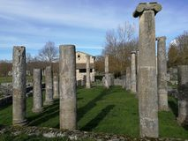 Altilia - Basilica. Altilia, Sepino, Campobasso, Molise, Italy - March 8, 2018: Remains of the basilica of the small Roman city of Samnite origins built along royalty free stock image